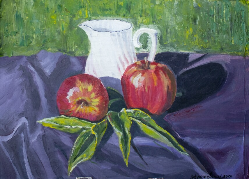 Plein air Apples and pitcher