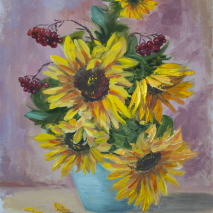 floral oil color painting hand