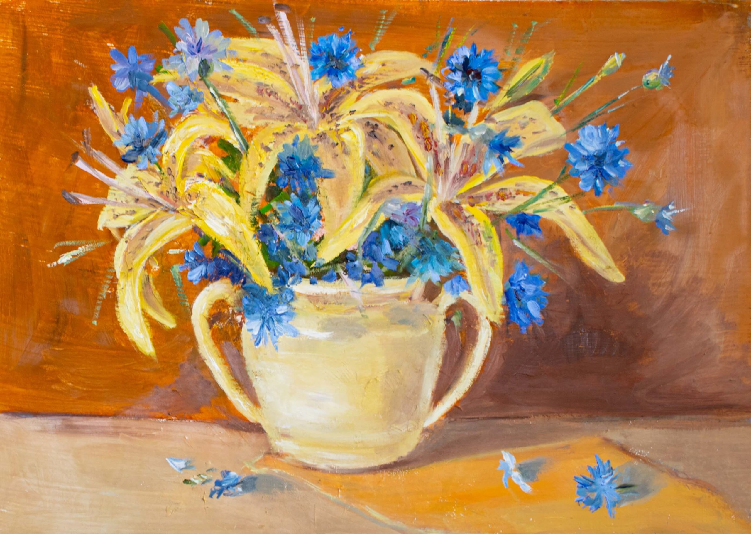 Bouquet of lilies and cornflowers